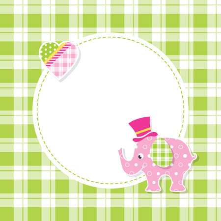 pink and green baby boy elephant greeting card