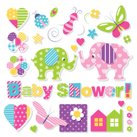 pink flower: baby shower collection