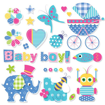 baby boy announcement: baby boy shower collection Illustration