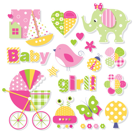 baby girl: baby girl shower collection Illustration