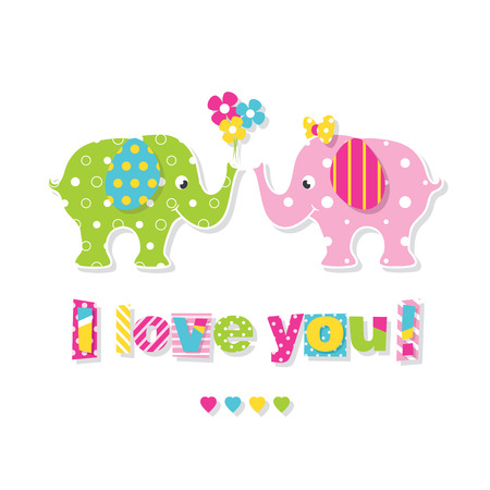 I love you elephants greeting card