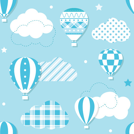 blue hot air balloons pattern Illustration