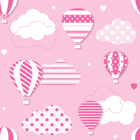 pink hot air balloons pattern
