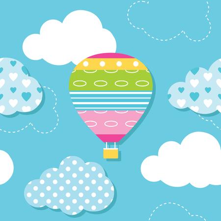 ciel avec nuages: ballon à air chaud et les nuages ??motif