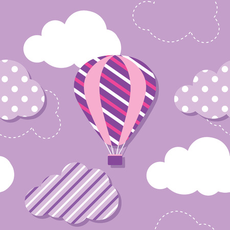 hot air balloon and clouds pattern