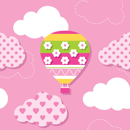 yellow adventure: hot air balloon and clouds pattern