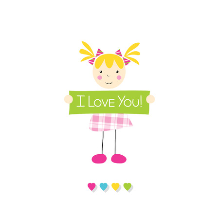 girl in love: little blonde girl holding I love you sign Illustration