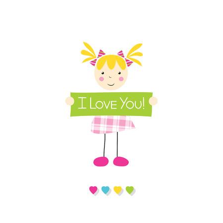 i love you sign: little blonde girl holding I love you sign Illustration