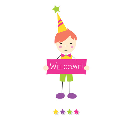red haired: little red haired boy holding a welcome sign