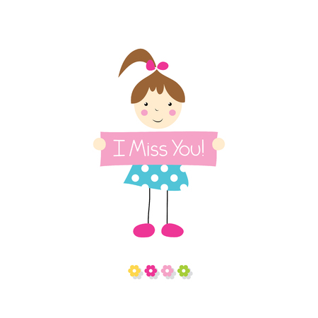 i miss you: little brown haired girl holding I miss you sign
