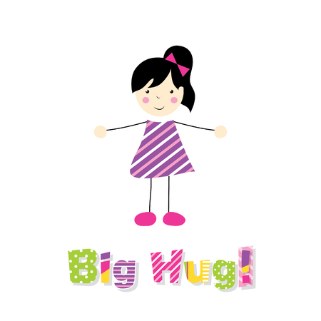 spreading: little black haired girl spreading arms with big hug typography Illustration