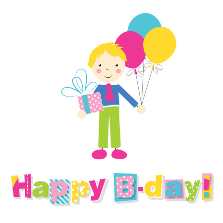 little blonde boy holding a birthday present and balloons with happy birthday typography