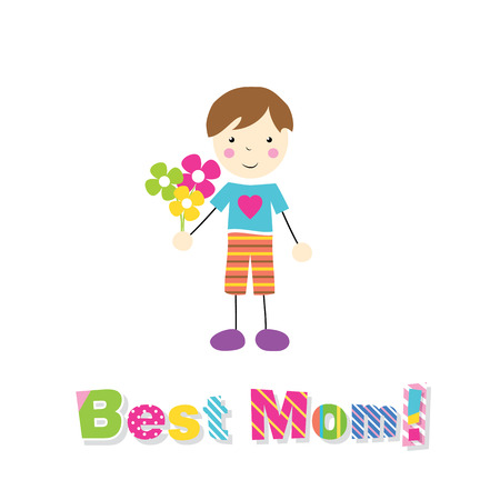 little brown haired boy holding flowers with best mom typography Illustration