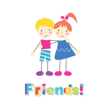 little red haired girl and blonde boy holding arms around each other with friends typography