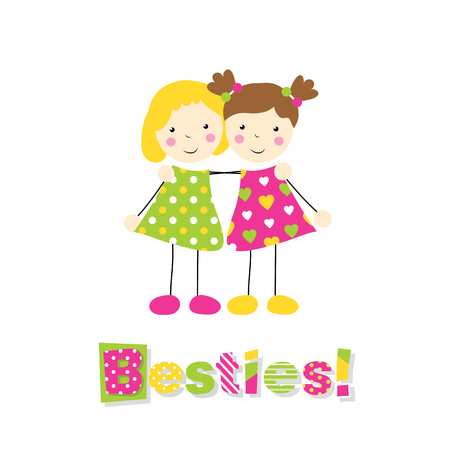 brown haired: little blonde and brown haired girls holding arms around each other with besties typography