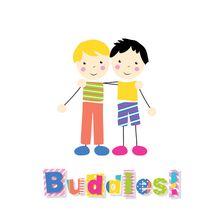 little blonde and black haired boys holding arms around each other with buddies typography