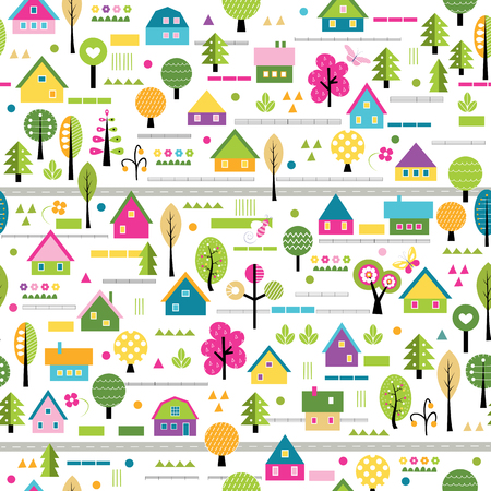 happy village pattern Illustration