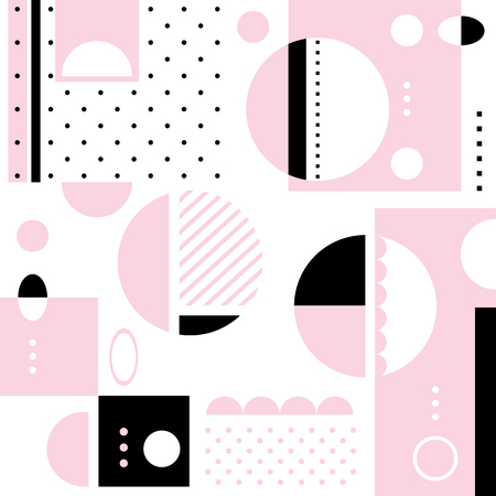 Pink and black geometric shapes creative pattern composition on white background