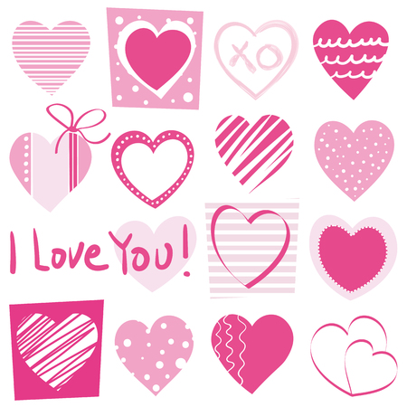 Valentine's day hand drawn pink dotted and striped hearts collection pattern with I love you typography on white background 向量圖像