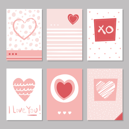 Valentine's day hand drawn red and white dotted and striped hearts greeting cards collection with I love you typography