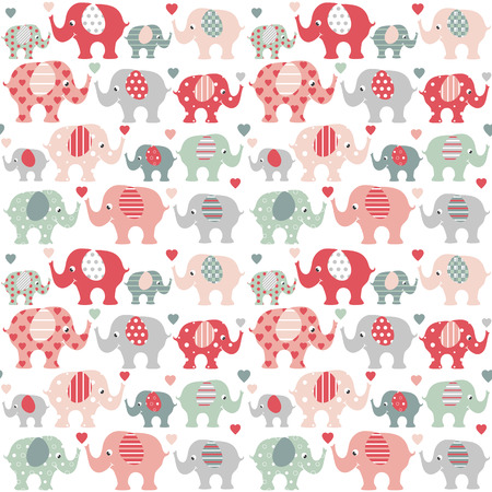 Cute red and green grown up and baby elephants with colorful hearts on white background 向量圖像