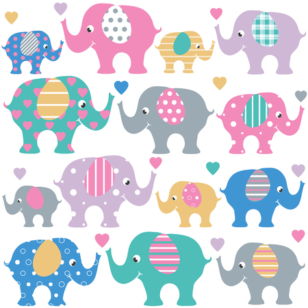 Cute collection of pink, blue, green and violet grown up and baby elephants, with striped ears and colorful hearts, on white background