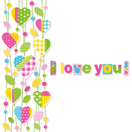 Cute colorful hearts, leaves and dots on branches border, with I love you typography on white background