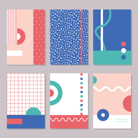 Six red, green and blue Memphis style geometric designs, with decorative abstract patterns, circles, rectangles and zig zag lines, for postcards, abstract art posters, notebook or stationary covers