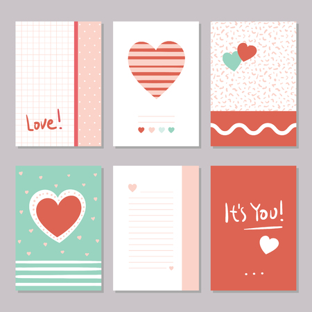 Valentine's day red, green and white greeting cards collection with hearts, abstract shapes, patterns, and hand drawn typography
