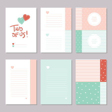 Six red, green and white male and female notebook stationary pages, with hearts, lines, photo frames, patterns and two of us hand written typography