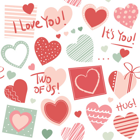 Red, pink and green hearts collection seamless pattern, with hand written I love you text and striped and dotted squares, on white background 向量圖像