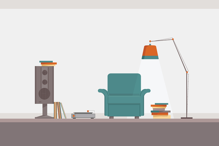 interior design illustration of a spot for music listening and reading, with a chair, lamp, books, records, speaker and a gramophone