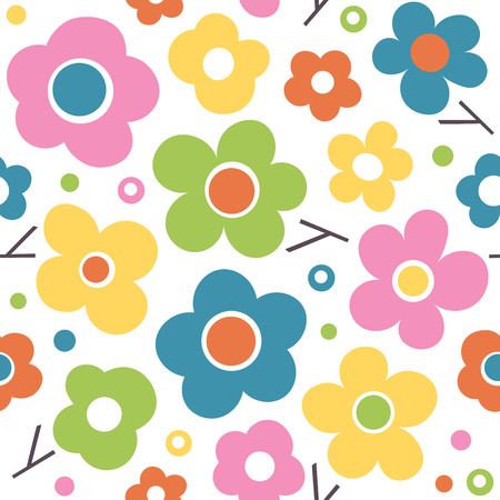 Vibrant pink, green, blue, orange and yellow flowers, dots and branches seamless pattern on white background