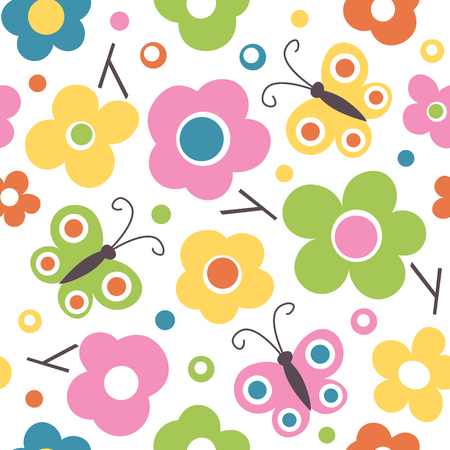Vibrant pink, green, blue, orange and yellow flowers, butterflies, dots and branches seamless pattern on white background