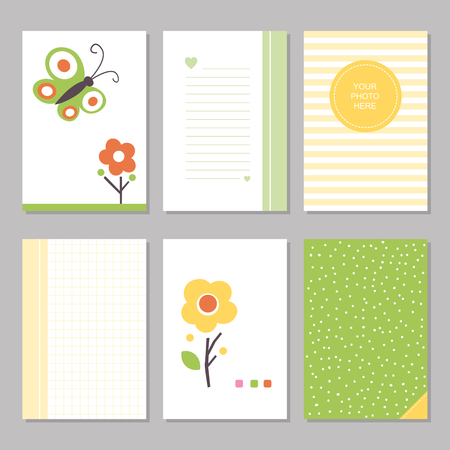 Six cute notebook covers with flowers and butterflies, patterns and stationary pages