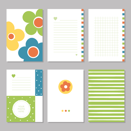 Six cute notebook covers with flowers, patterns and stationary pages
