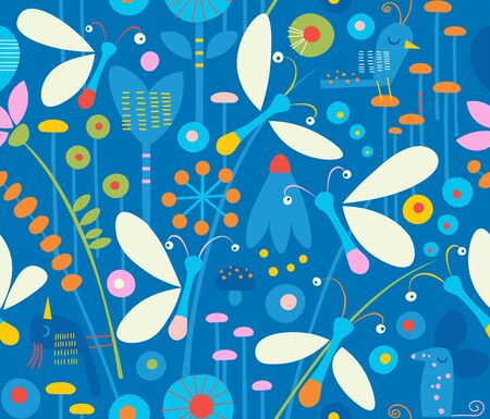 Cute seamless pattern of bioluminescent fireflies in grass at night surrounded by flowers, birds, plants and mice on dark blue background Illustration