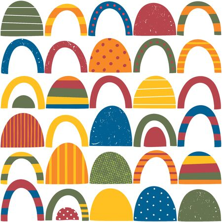 Colorful red, green, blue, yellow and orange abstract shapes with stripes, dots and distressed patterns on white background