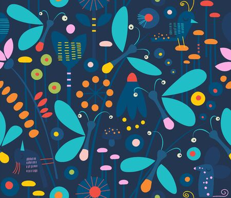 Cute seamless pattern of bioluminescent fireflies in grass at night surrounded by flowers, birds, plants and mice on dark background