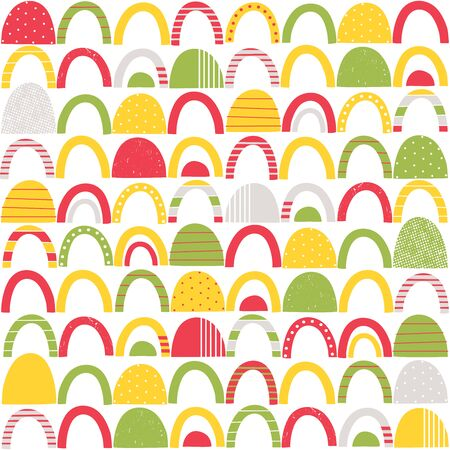 Colorful red, green, yellow and grey abstract shapes with stripes, dots and distressed patterns on white background