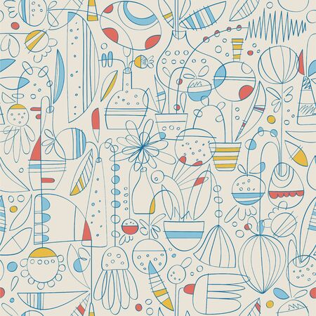 Contemporary Toile de Jouy hand drawn pattern of linear abstract flowers in pots and vases with basic colors on pale background