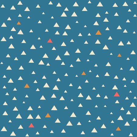 White, yellow and red scattered triangles pattern on blue background Illustration