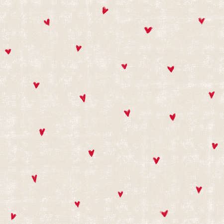 Little red pastel hand drawn hearts pattern on beige background