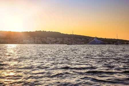 Beautiful panoramic view of the city at sunset, Argostoli town on Kefalonia island (Ionian island) in Greece.