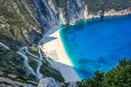 Famous beach Mirtos on Kefalonia island, one of the most idyllic beaches of the Greek islands.