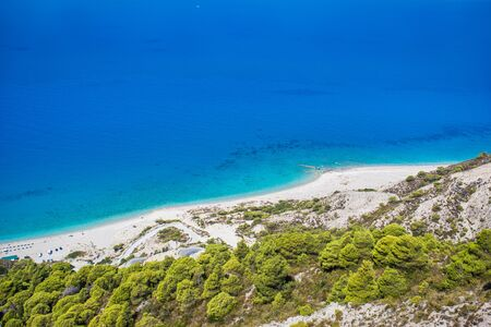 Amazing view of Gialos beach, west coast of Lefkada island, Greece. Stock Photo