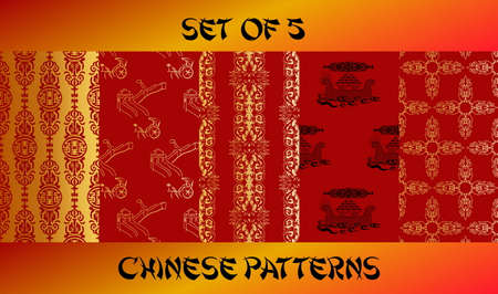 gold textures: Chinese gold seamless patterns set. Endless textures for wallpapers.