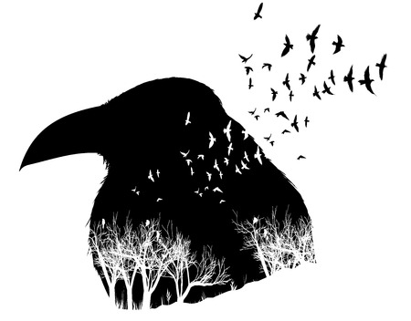 Raven illustration with double exposure effect. Birds and trees background. Illustration