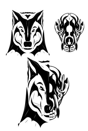 Wolf en schedel illustratie. Zwart en wit.