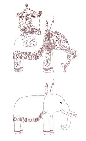 sirvientes: Decorada contorno elefante indio. Rey y criados en elefantes